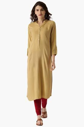 LIBAS Womens Rayon Solid Straight Kurta With One Side Pocket
