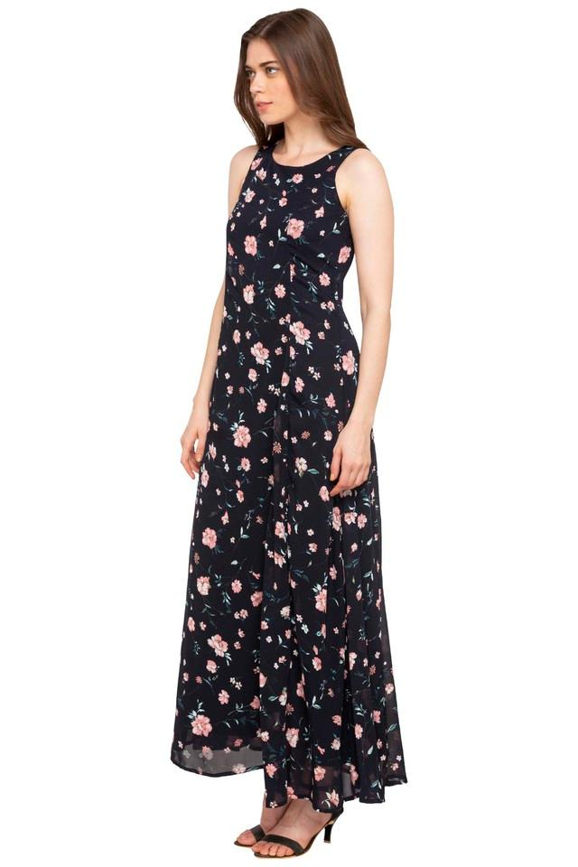 Womens Round Neck Floral Print Maxi Dress