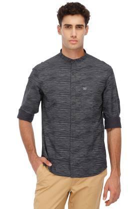 Mens Band Collar Textured Casual Shirts
