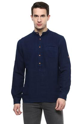 Mens Band Collar Solid Casual Shirt