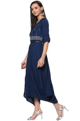 Womens Key Hole Neck Embroidered Asymmetrical Dress