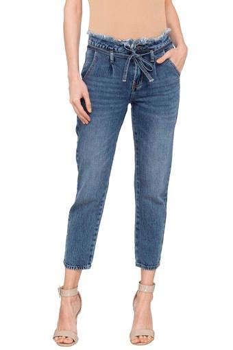 Womens 5 Pocket Heavy Wash Boyfriend Jeans
