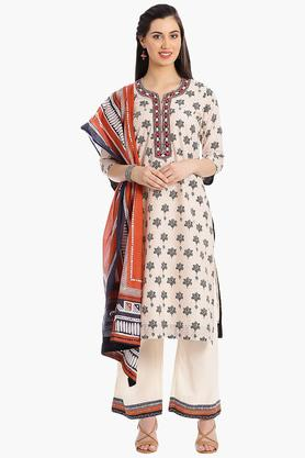 BIBA Women Straight Cotton Suit Set - 202981540