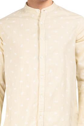Mens Mandarin Collar Printed Shirt