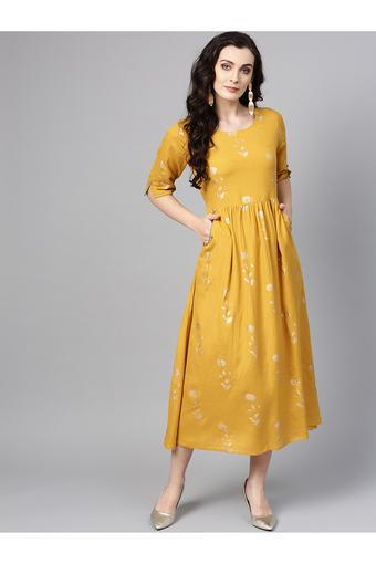 fe3946f40c Buy VARANGA Womens Round Neck Printed Flared Dress