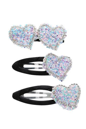 Girls Stone Studded Rubber Band and Clips Pack of 3