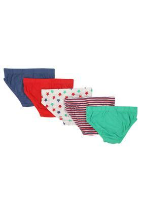 Boys Printed Solid and Stripe Briefs Pack of 5