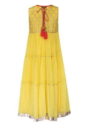 Girls Tie Up Neck Embellished  A-Line Gown
