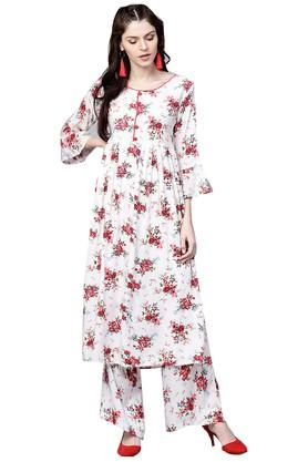 Womens Round Neck Floral Print Kurta and Palazzo Set