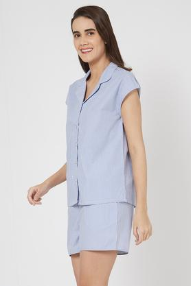 Womens Notched Lapel Striped Shirt and Shorts Set