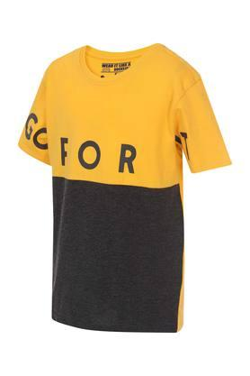 Boys Round Neck Colour Block Tee