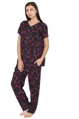 Maternity V- Neck Floral Print Top and Pyjamas Set