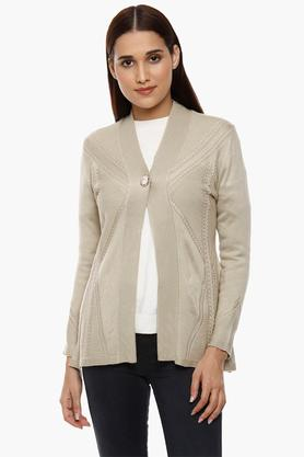 APSLEY Womens Open Neck Knitted Pattern Cardigan - 204730525_9115