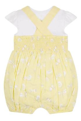 Kids Round Neck Solid Top and Printed Dungaree