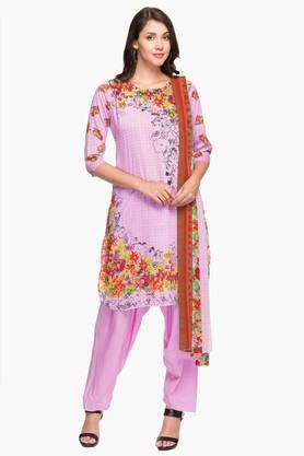 KASHISH Womens Round Neck Printed Kurta Salwar Dupatta Set