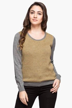 WILLS LIFESTYLE Womens Round Neck Printed Sweater - 202949477