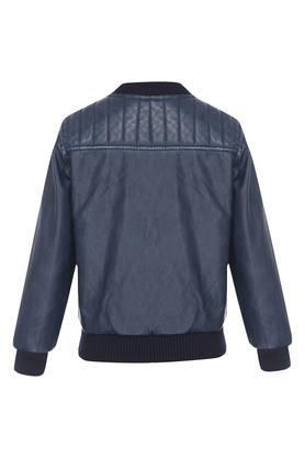 Boys Zip Through Neck Solid Jacket