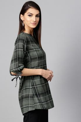 Womens Mandarin Collar Checked Tunic