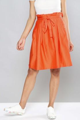 NUSHWomens Single Pocket Pleated Solid Skirt