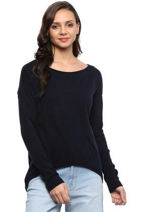 LIFE Womens Round Neck Solid Sweater