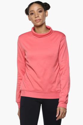 Womens Turtle Neck Solid Sweatshirt