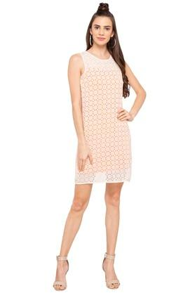 Womens Round Neck Lace Shift Dress