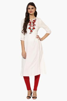 JUNIPER Womens Embroidered Round Neck Long Kurta