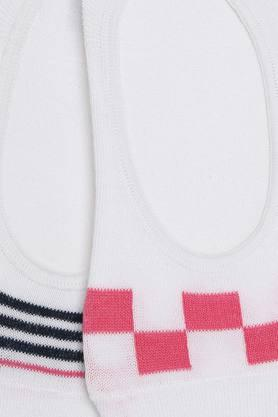 Womens No Show Striped and Checked Socks - Pack Of 2