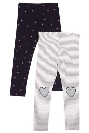 Girls Printed and Stripe Leggings Pack of 2