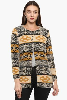 ONER Womens Round Neck Knitted Pattern Cardigan