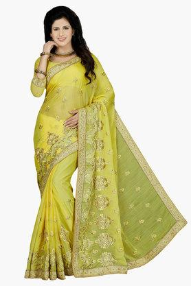 DEMARCA Womens Faux Chiffon Embroidered Saree