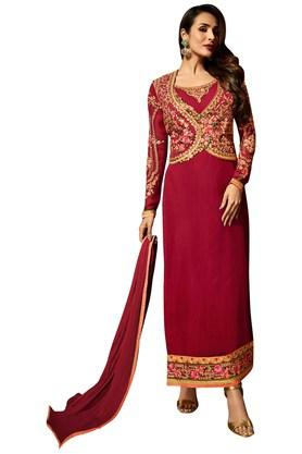 VRITIKA Womens Alluring Red A-Line Suit With Koti