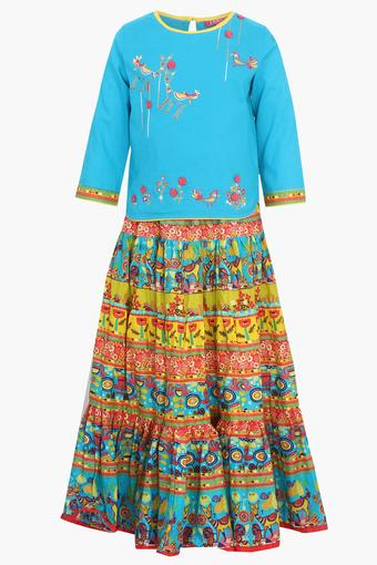 Girls Round Neck Printed Skirt and Top