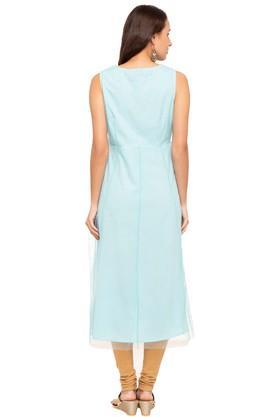 Womens Round Neck Embroidered Midi Dress