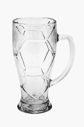 Textured Geometric Pattern Transparent Beer Mug