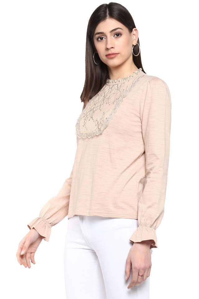 Womens Ruffled Collar Slub Top