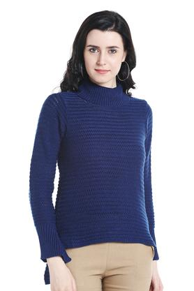 109F Womens Turtle Neck Knitted Pattern Sweater