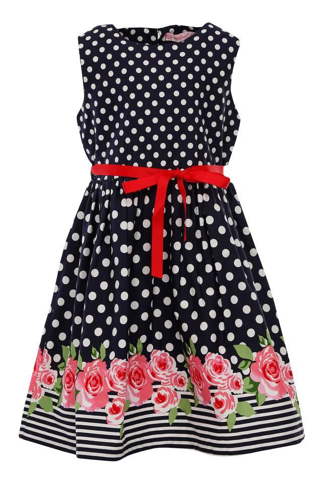 Girls Dot Pattern Flared Dress