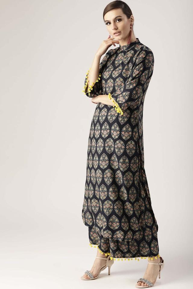Womens High Neck Printed Kurta and Palazzo Set