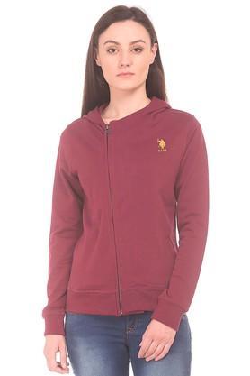 U.S. POLO ASSN.Womens Zip Through Solid Sweatshirt
