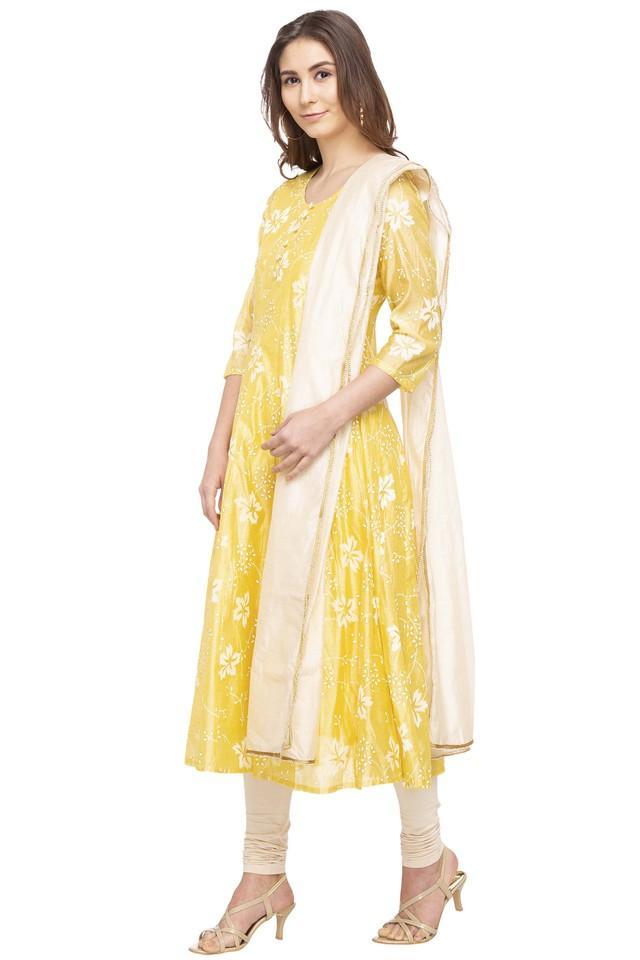 Womens Round Printed Churidar Suit