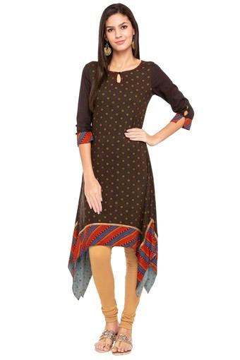 Womens Key Hole Neck Printed Asymmetrical Kurta