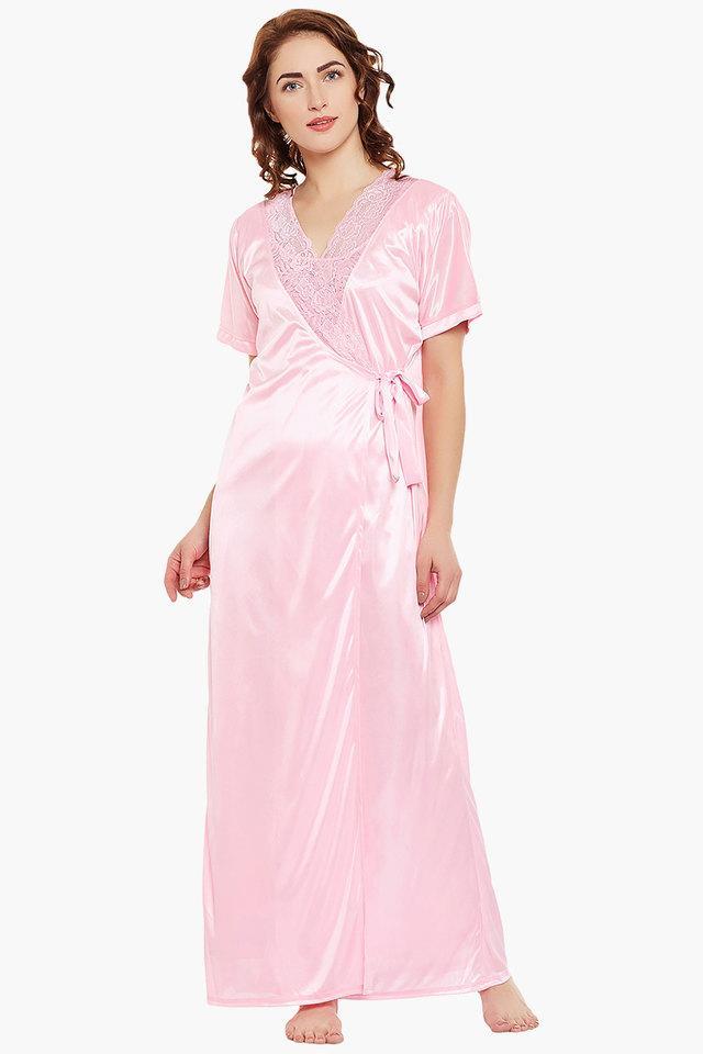 1b0f082fe4 Buy CLOVIA Womens V- Neck Solid Night Dress and Solid robe Set ...