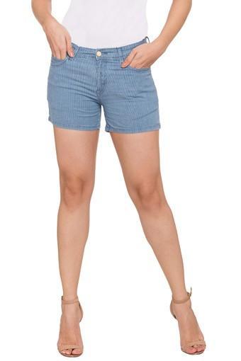 Womens 5 Pocket Striped Shorts