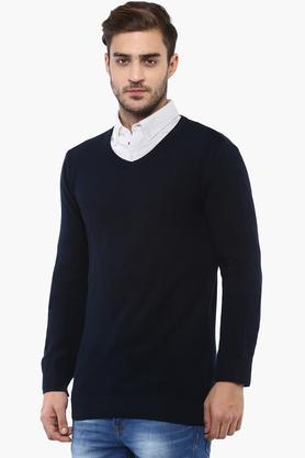 Mens V- Neck Solid Sweater