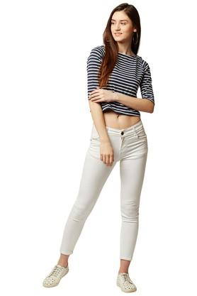 Womens Round Neck Striped Crop Top