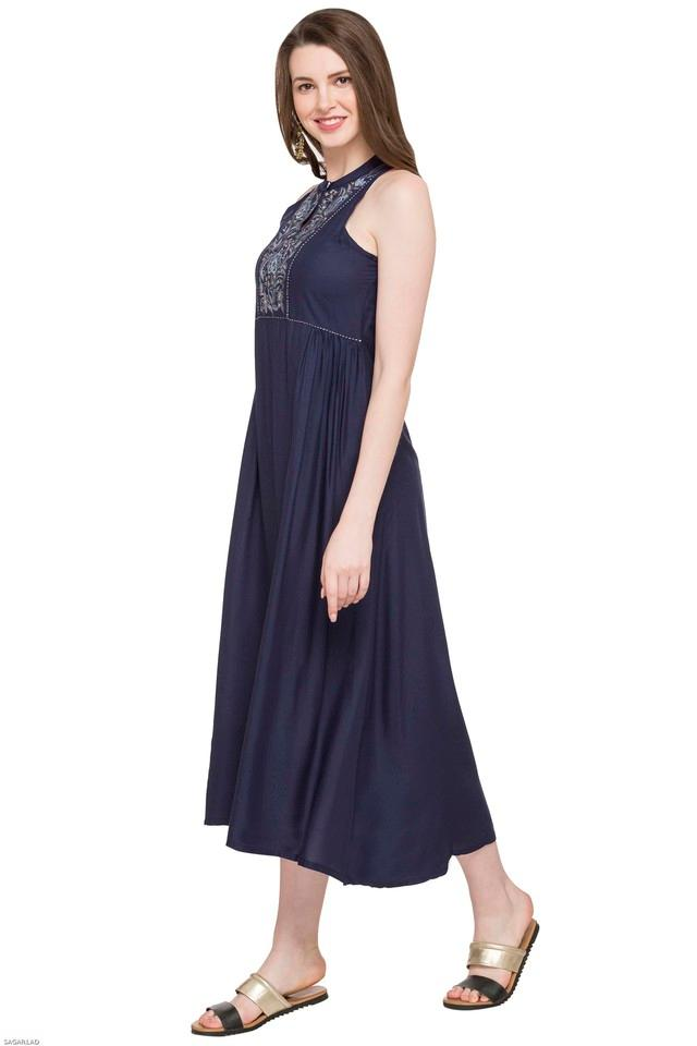 Womens Key Hole Neck Embroidered Flared Dress