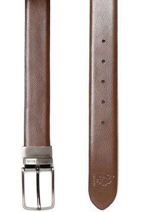 Mens Leather Buckle Closure Formal Reversible Belt