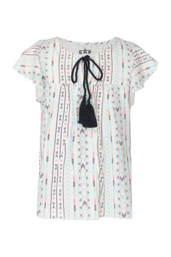 Girls Tie Up Neck Printed Top