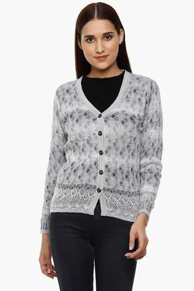 MONTE CARLO Womens V-Neck Knitted Pattern Cardigan - 204635131_9204